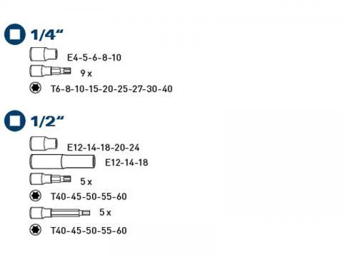"""Gedore TORX bit set 32, 1/4"""", 1/2"""" , F"""